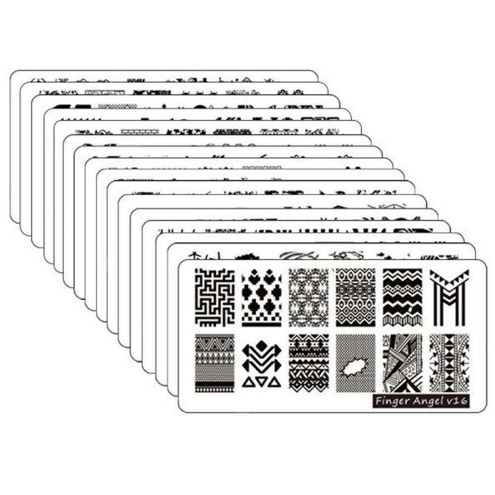 FingerAngel 16Pcs Stamping Plates Mix Designs Retangle Stamp Stamping Image Fashion Design Plate Print Nail Art Template (V1-16)
