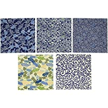 Aitoh YZA350D Origami Paper, 5.875 by 5.875-Inch, Aizome Blue Yuzen, 5-Pack