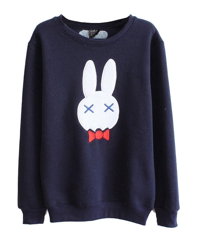 ColorFino Women's Cute Rabbit Print Pure Color Fleece Warm Pullover Sweatshirt