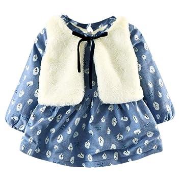 c7d77a17b Amazon.com   Warm Newborn Infant Baby Girl Dress Set Long Sleeves ...