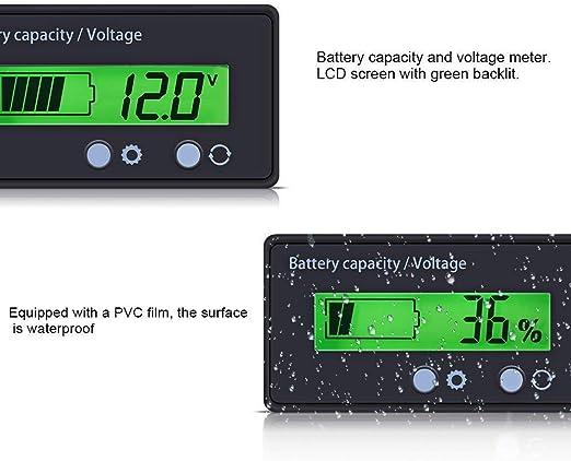 Batteriekapazität Tester Voltmeter Mit Lcd Display Hintergrundbeleuchtung Wasserdichte 12 24 36 48 V Bleisäure Batterieanzeige Spannungs Meter Monitor Detektor Für Auto Fahrzeug Auto
