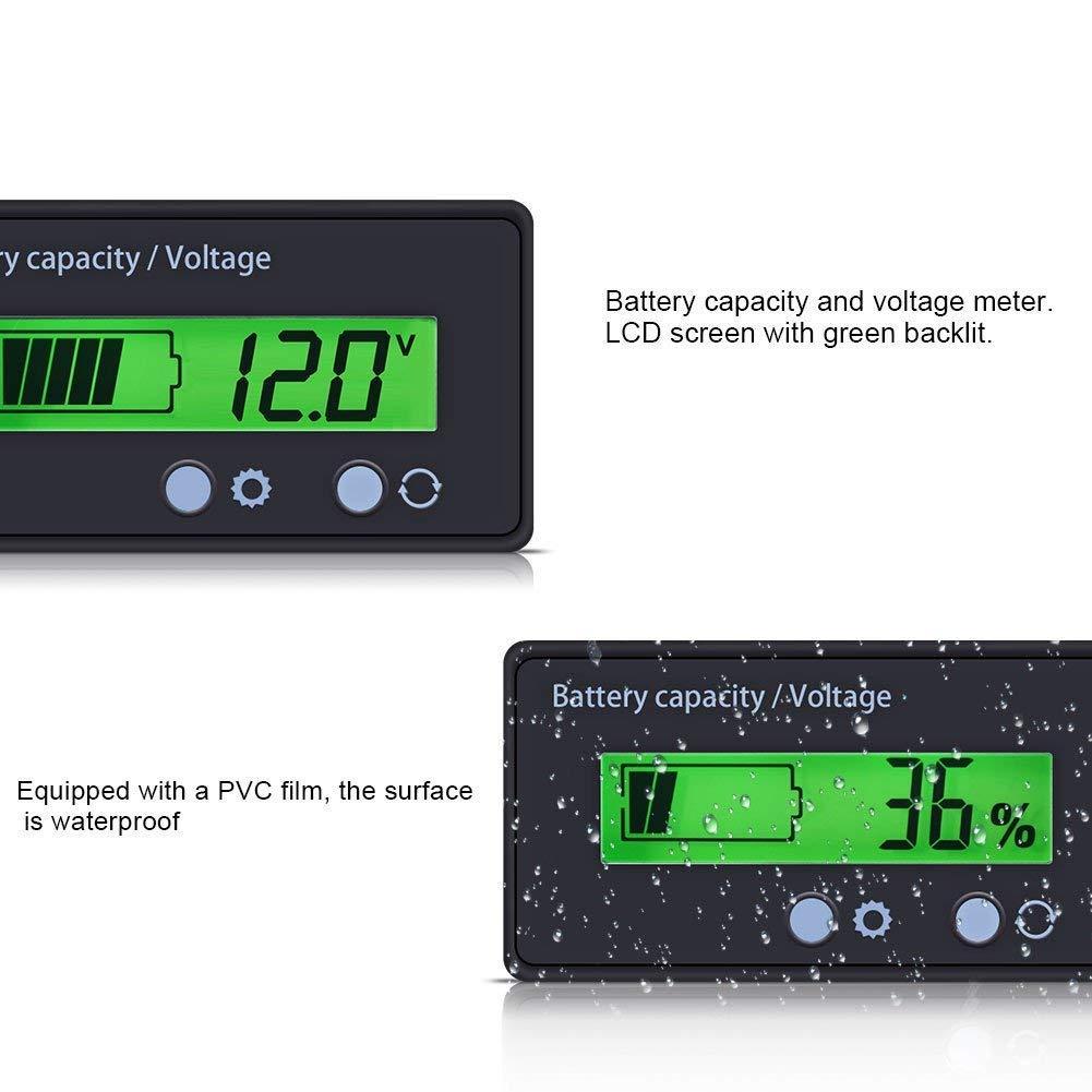 Impermeable 12V 24V 36V 48V Volt/ímetro Indicador de bater/ía de plomo /ácido Monitor Detector para veh/ículo autom/óvil Medidor de voltaje /& capacidad de la bater/ía con pantalla LCD retroiluminada