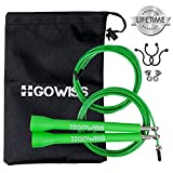 Gowiss Jump Rope - Speed & Adjustable Steel Wire Skipping Ropes - Includes Carrying Bag Spare Cable & Screw Kit - Double Unders,Boxing,Cross Training Fitness and Cardio (Green)