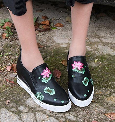 Lotus Embroidery Black Mouth New Ladies Summer Shoes Girls Sponge Shoes slip Single Women's Wind Shallow Athletic National Sports amp; Head Round Non Wedge Huaishu Outdoors Increased Cake wzx8q6F5