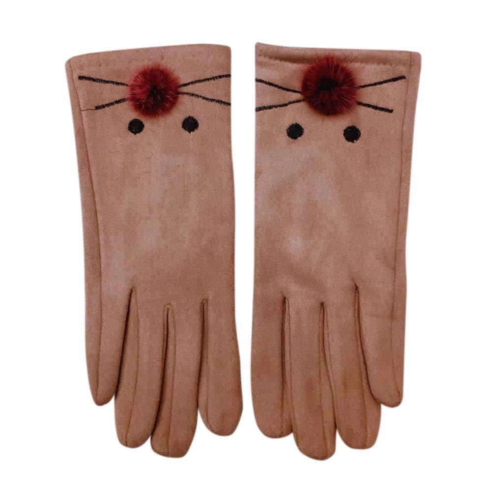 elegantstunning Handschuhe Frauen verdickte windundurchlässige warme schicke nette Katzen Form Mode Touch Screen