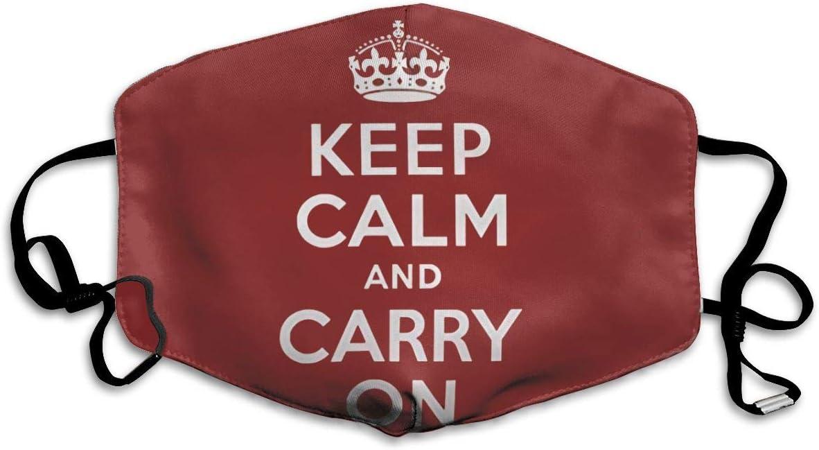 Mascarilla para la Boca, Color Rojo Oscuro, con Texto en inglés Keep Calm and Carry On, para Mantener el Calor en frío, protección contra el Polvo y el Humo para Hombres, Mujeres y Adolescentes