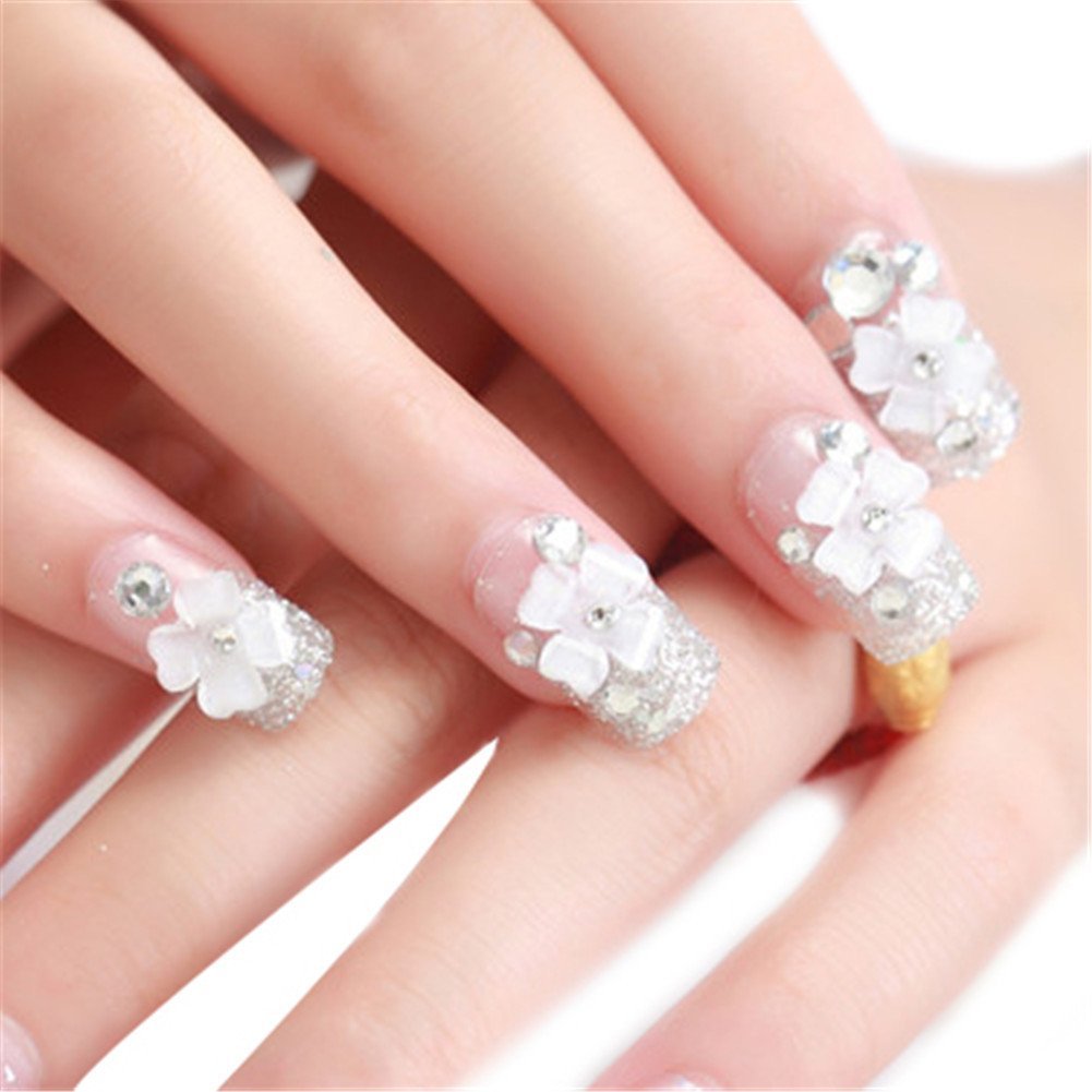 Himanjie Strass und Perlen Braut Transparente Künstliche Nägel mit ...