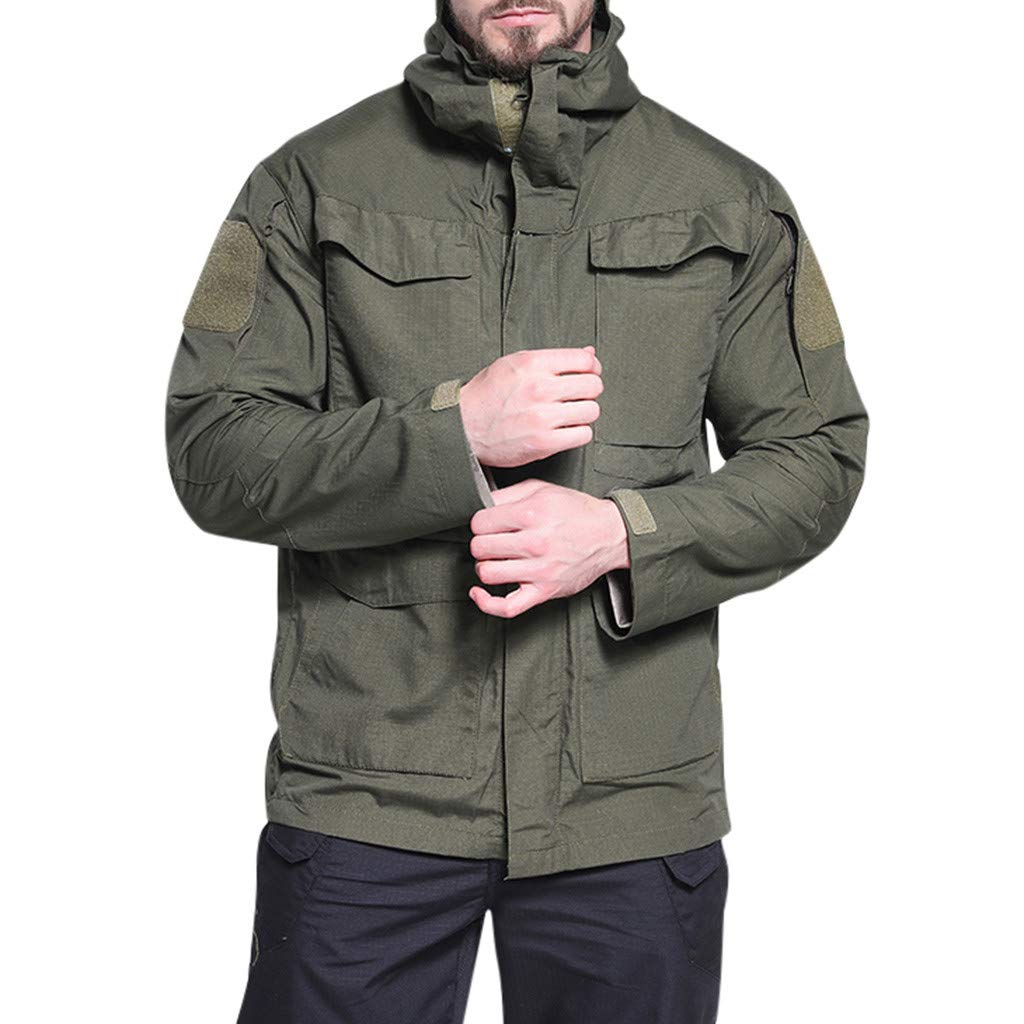 IEasⓄn Men Coat New Coming Windproof Warm Outdoor Sports Hooded Jacket Coat Online Store Army Green