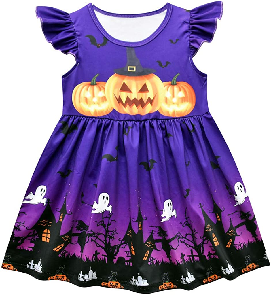 RedBrowm Toddler Baby Girls Fly Sleeve Ruched Pumpkin Halloween Dress Party Princess Dresses