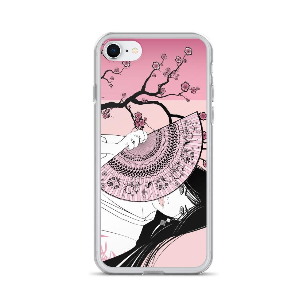 Amazon Com Geisha On A Pink Floral Background Iphone Slim Case