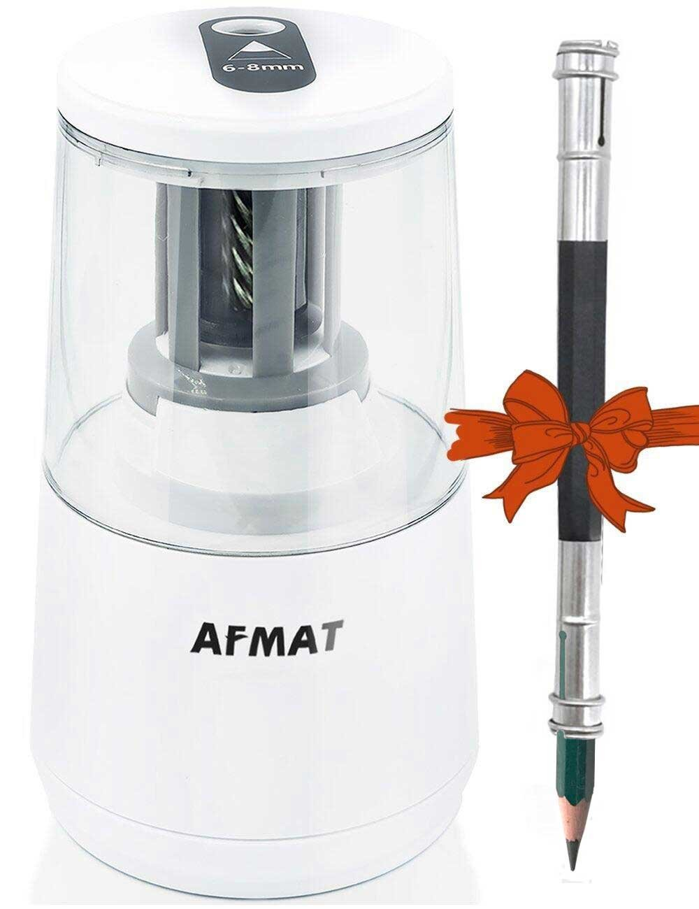 AFMAT Electric Pencil Sharpener, Helical Steel Blade, Sharpens All Pencils, USB Battery Operated for 6-8mm NO. 2 and Colored Pencils in School, Home, Office(Free Pencil Extender) -White
