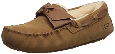 UGG Women's Dakota Leather Bow Slipper, Chestnut, ...