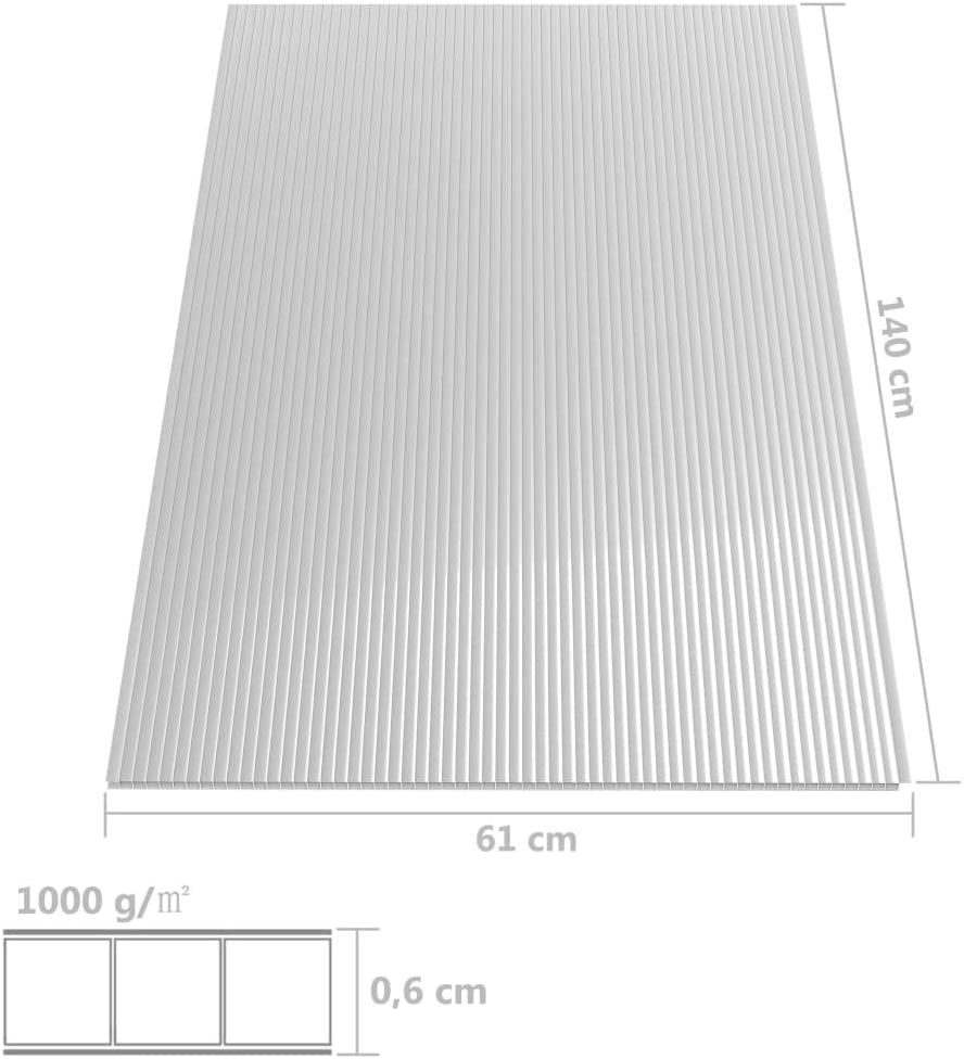 vidaXL 6x Polycarbonatplatte Doppelstegplatten Hohlkammerplatten Polycarbonat Stegplatten Hohlkammerplatte Doppelstegplatte 6mm 140x61cm