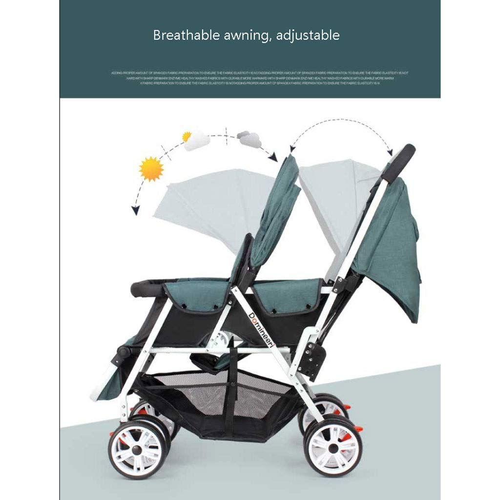 Color : A Jixi Cochecitos de beb/é Gemelos Ligero Plegable Delantero y Trasero Reclinable Carro Doble Mosquitera for autom/óvil Infantil Cintur/ón de Seguridad de Cinco Puntos