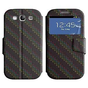 Be-Star Diseño Impreso Colorido Slim Casa Carcasa Funda Case PU Cuero - Stand Function para Samsung Galaxy S3 III / i9300 / i717 ( Diagonal Peace Sign )