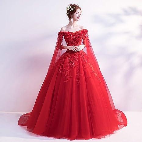 on sale 16b31 b0d43 YUNDING Abito da Sposa Rosso, Lungo Lavato/Vestito Senza ...