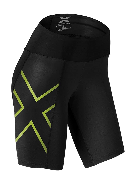Black Bright Green 2XU Women's MidRise Athletic Compression Shorts