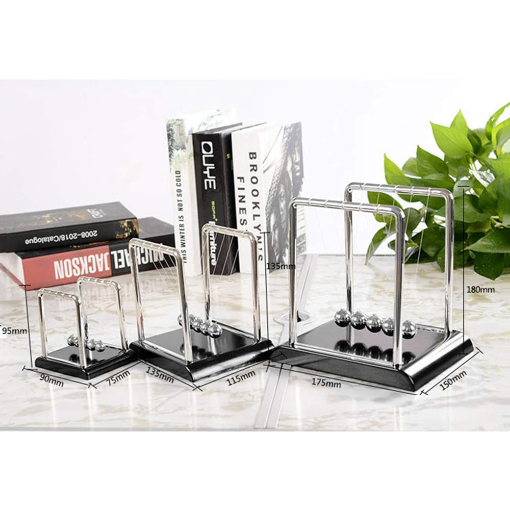 Cinlla Physics Science Energy Conservation Laws Newton Cradle Pendulum Metal Ball Office Desk Decor Teaching Tool Red Base Small Style
