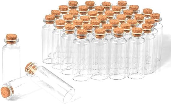 SHiZAK - Juego de 40 botellas de cristal con tapones de corcho, botellas transparentes para manualidades, decoración, recuerdos de bodas, regalos de fiesta, accesorios de almacenamiento: Amazon.es: Bricolaje y herramientas