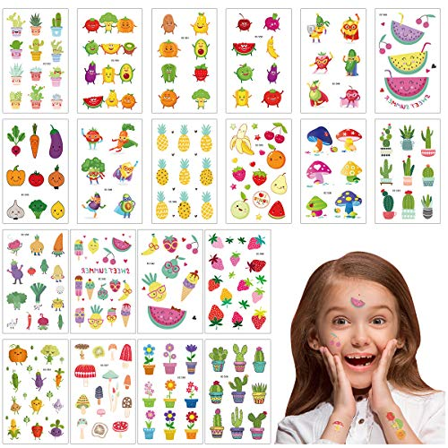 Cieovo Pack of 20 Sheets Glitter Temporary Tattoos for Kids Girls - Fun Sparkle Stickers Birthday Party Favor, Waterproof Body Stickers with Fruit, Vegetable, Cactus