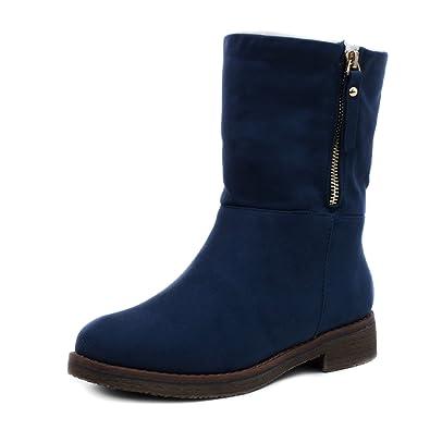 Marimo Damen Stiefel Biker Ankle Boots in Hochwertiger Lederoptik warm  gefüttert Blau 36 d53f2369a3
