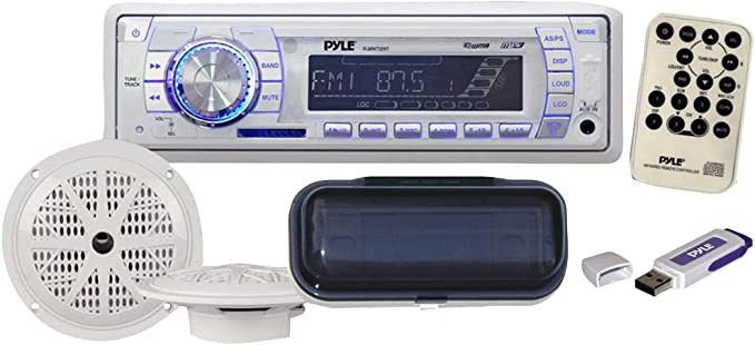 New 2012 Black Outdoor Marine MMC Radio Player USB AUX Input Splash proof Cover