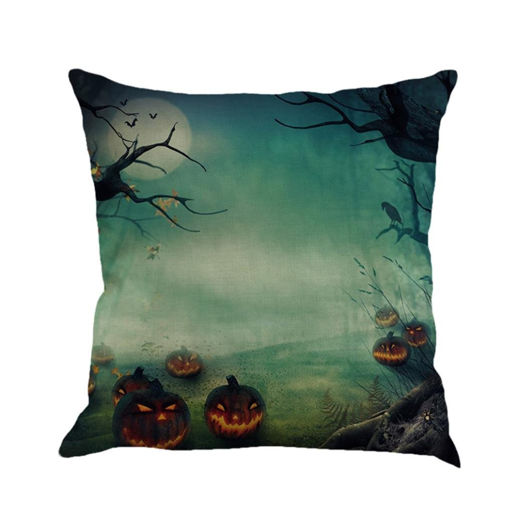 Gotd Vintage Halloween Pillow Covers Decorative Throw Pillow Case Cushion for Happy Halloween Decorations Decor Clearance Indoot Outdoor Festive Party Supplies (Multicolor C)