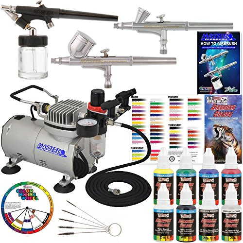 (3 Airbrush Professional Master Airbrush Multi-Purpose Airbrushing System Kit with 6 Primary Opaque Colors Acrylic Paint Artist Set - G22, G25, E91 Gravity & Siphon Feed Airbrushes and Air Compressor)