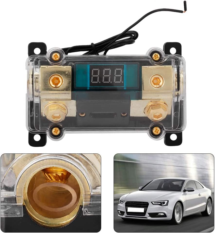 150A Aramox Car Fuses Holder Car Audio Power Fuses Holder Stereo Distribution Block Box Digital Display