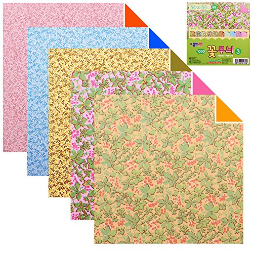 - 100 Sheets Double Sided Origami Paper Various Patterns (Flower Pattern 3)