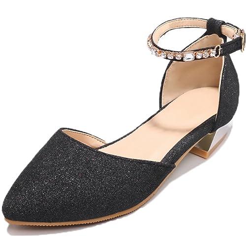 c72e161137d SaraIris Women s Chunky Low Heel Pointed Toe Shoes D-Orsay Rhinestone  Casual Pumps Black