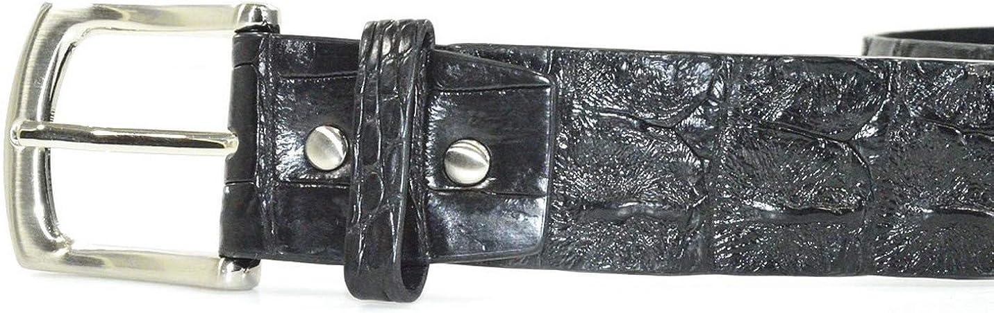 Authentic River Crocodile Skin Mens Big Hornback Pin Belt