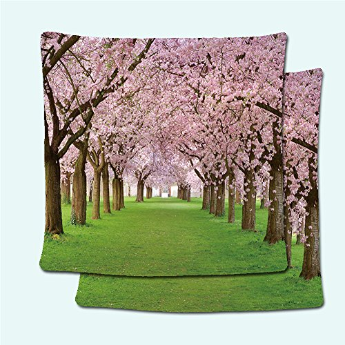 Row Needlepoint (SCOCICI1688 Pillowcases 44202832 Rows of beautifully blossoming cherry trees on a green lawn)