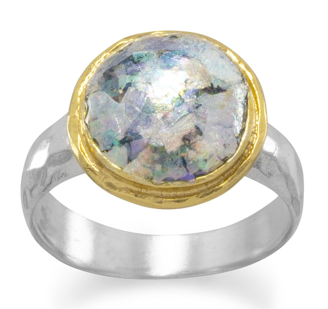 Hammered Sterling Silver/18K Gold Ring, 9mm Ancient Roman Glass, Sizes 6-9, 1/2 inch wide