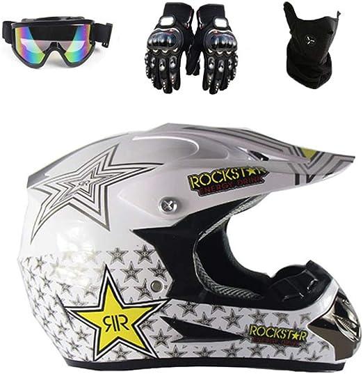 Motocross Helmet Occhiali Guanti Maschera Adulto Moto ATV Off Road Casco MTB Unisex Full Face Crash Caschi D.O.T Certificato Rockstar,TK03,L59~60