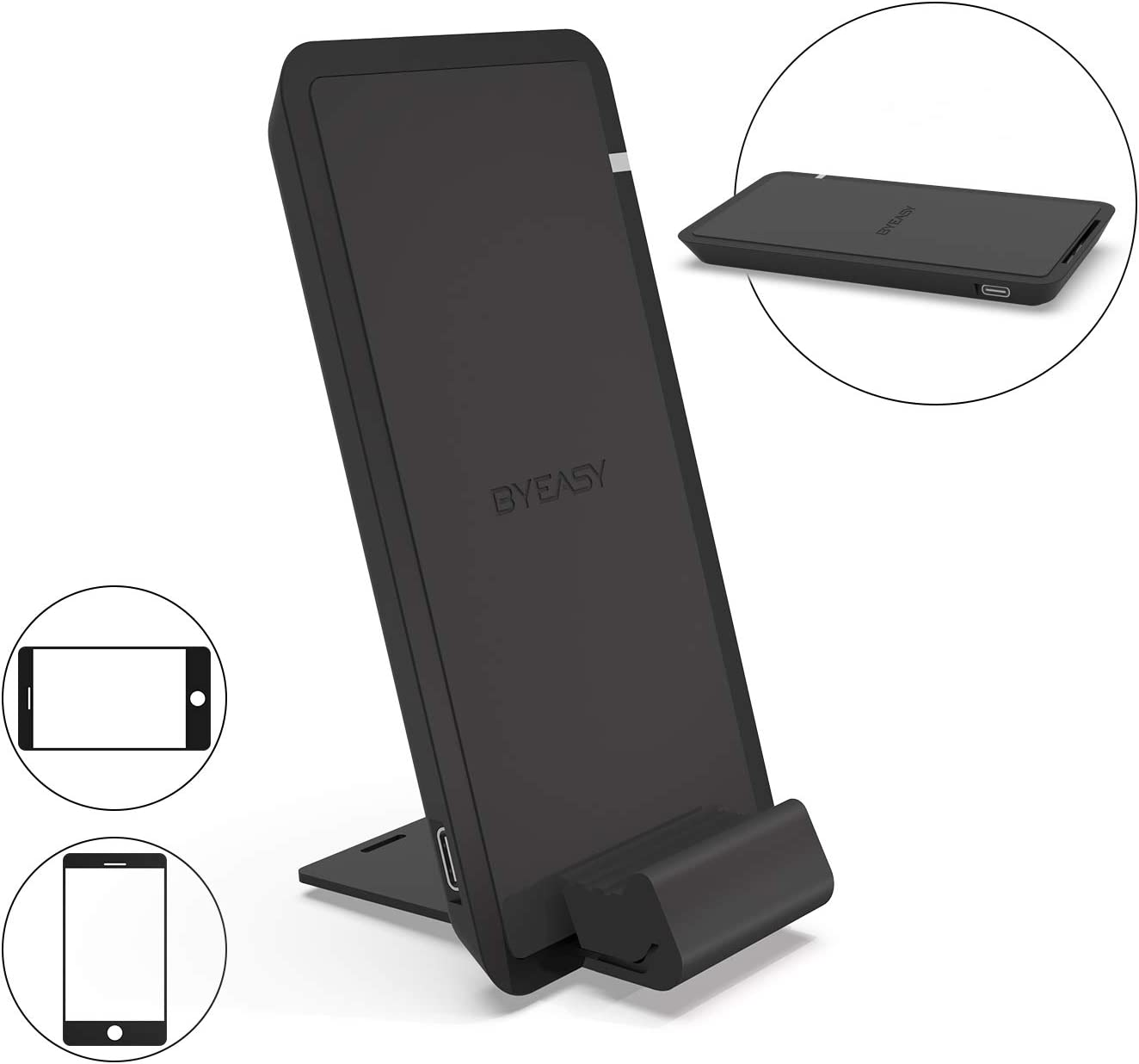 10W Wireless Charging Stand No AC Adapter BYEASY Wireless Charger Black Compatible iPhone XR//Xs Max//XS//X//8//8 Plus Fast-Charging Galaxy S10//S9//S9+//S8//S8+//Note 9//Note 8 PowerWave Stand