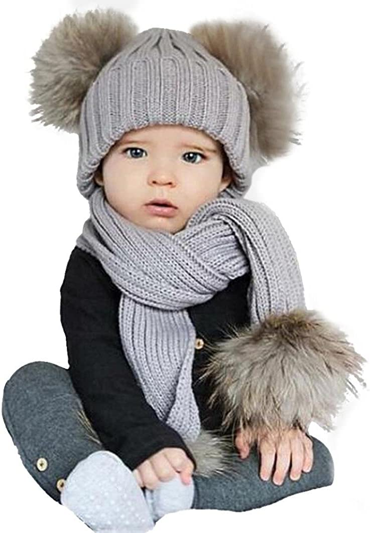 Dreamyth Baby Cute Winter Kids Double Ball Baby Hats Keep Warm Set Cute Hat Scarf