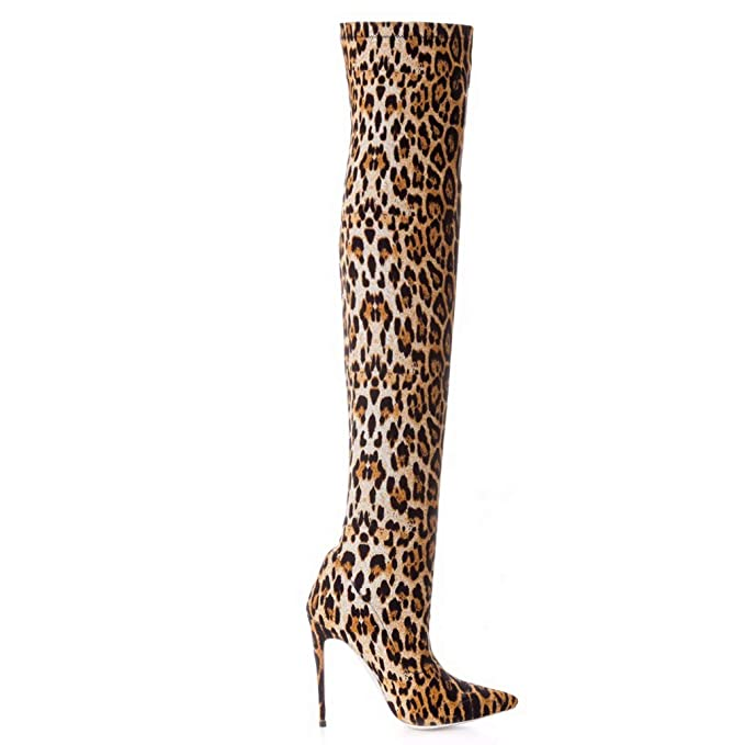 a11d350cebbd9 Amazon.com: ODOKAY Women Sexy Brown Leopard Boots Thigh High Fashion ...
