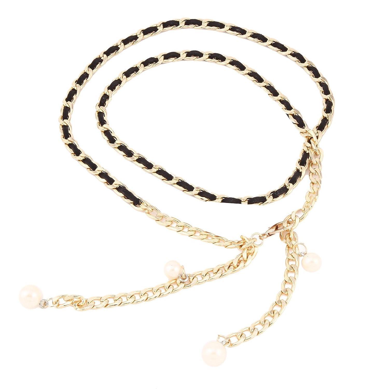 Damara Damen Metall Elastischer Stoff Taillengürtel Mit Kunstlicher Perle Dekoration