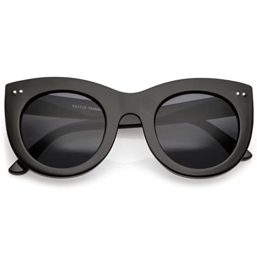 d7d8cafc6b sunglassLA - Women s Bold Chunky Cat Eye Sunglasses With Neutral Color  Round Lens 49mm (Black