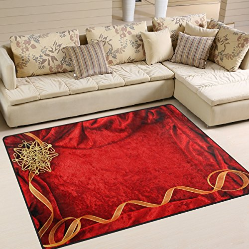 XiangHeFu Soft Doormats 7'x5' (80x58 Inches) Area Rugs Wedding Invitation Card Red Background Non-Slip Floor Mat Resting for Living Room Bedroom