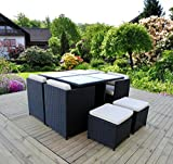 """""""Uni Best"""" 9 Piece Luxury Patio Wicker Furniture - Outdoor Dining Set with Table Chair Ottoman - Dinette Furniture Set (Black Wicker)"""
