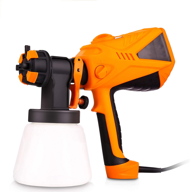 Plohee Paint Sprayer 600 Watt Electric Sprayer HVLP Paint Guns for Home House, 3 Spray Patterns & 3 Nozzle Sizes & 900 ML Detachable Container (Orange)