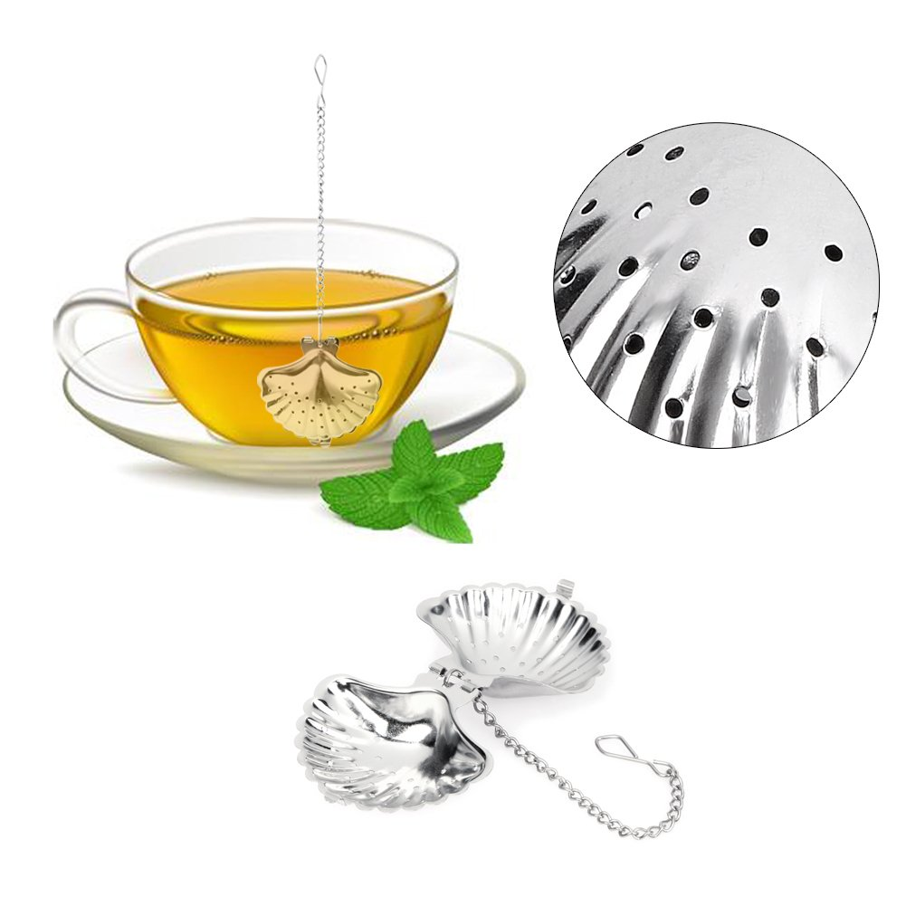 Funnytoday365 Stainless Steel Cute Shell Shape Tea Strainer Spice Herbal Leaf Infuser Filter Diffuser Tools For Tea Coffee Drinkware