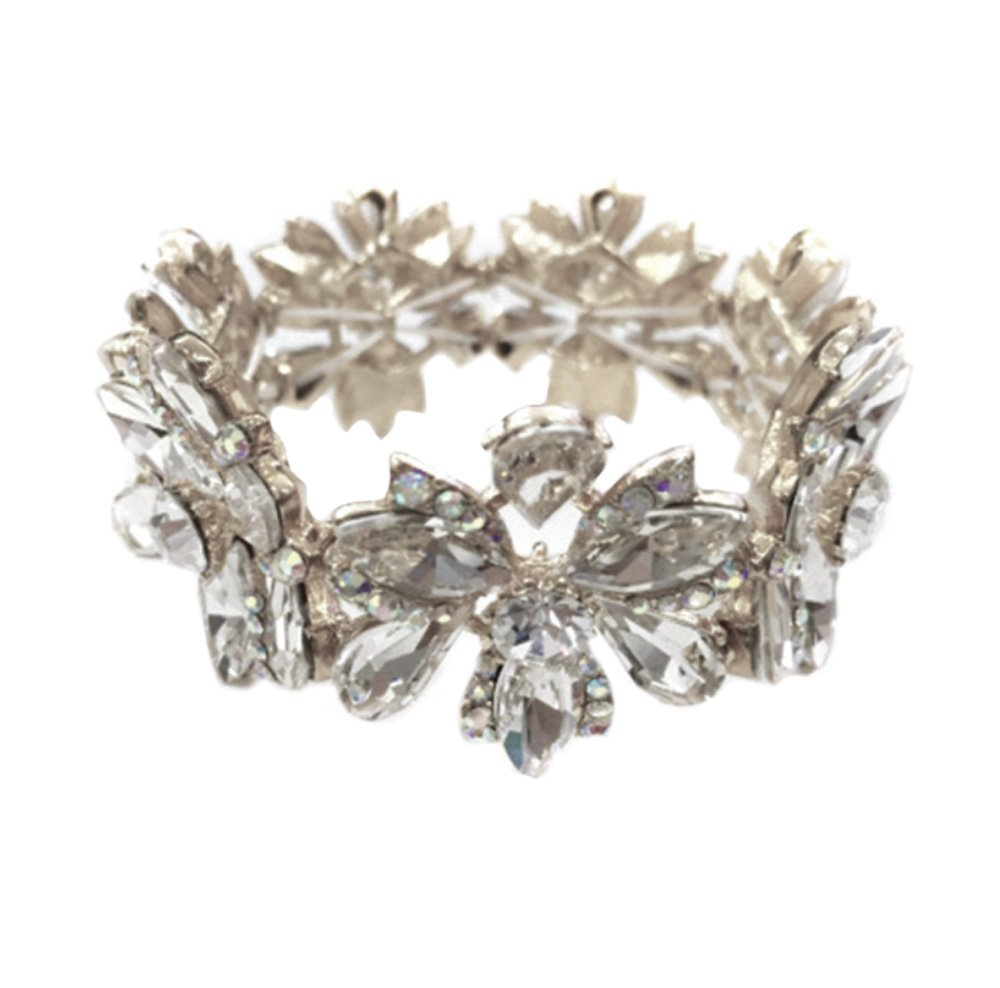 Silver Tone Imitation Diamond Flower Cluster Wedding Bridal Formal Prom Vintage Antique Retro Deco Style Rhinestone Statement Bracelet by Secret for Longevity