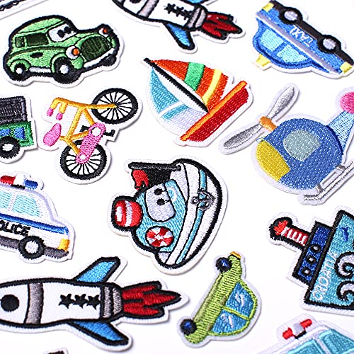 AXEN Embroidered Car Iron on Patches DIY Accessories, Assorted Traffic Decorative Patches, Cute Applique Patches for Jackets, Hats, Backpacks, Jeans, 30 Pieces Package