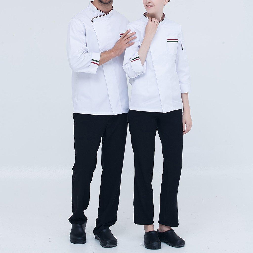 Fenteer Atmungsaktive Kochjacke Langarm B/äckerjacke Kochhemd Arbeitsjacke Gastronomie Koch Berufsbekleidung