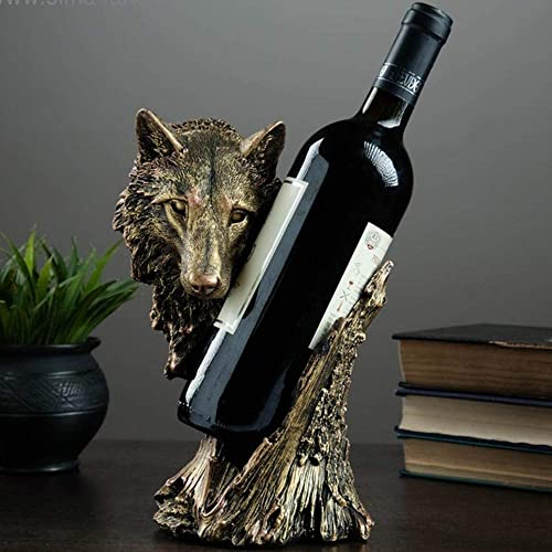 Wolf Wine Bottle Holder Kitchen Countertop Decor