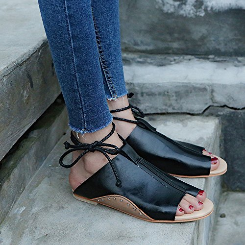 WINWINTOM Women Sandals, Large Size Sandals Flat-Bottomed Roman Sandals Open Ankle Flat Straps Platform Wedges Shoes - Bohemia Heels Ladies Ankle Strap Buckle Footwear Black