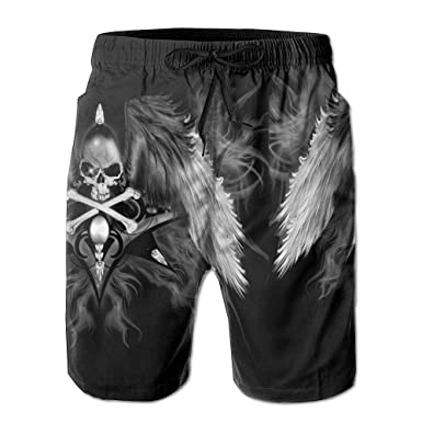 311566c073 Image Unavailable. Image not available for. Color: Kash NY Black Skull Wing  Mens Fashion Surf Board Beach Home Shorts Swim-Trunks Quick